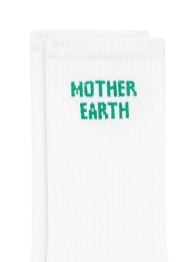 Mavi Mother Earth Baskılı  Soket Çorap Beyaz
